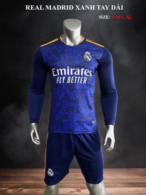 Quần áo bóng đá tay dài Real Madrid màu Xanh 21-22