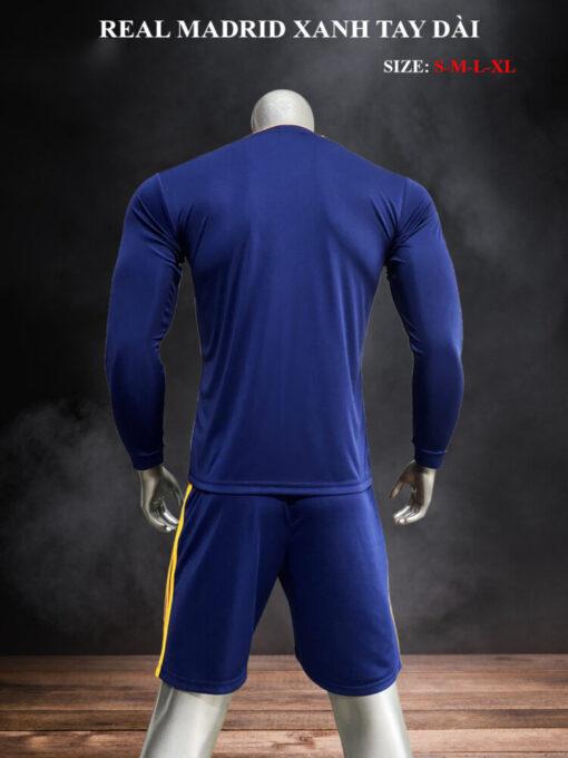 Quần áo bóng đá tay dài Real Madrid màu Xanh 21-22 mặt lưng