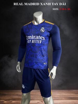 Quần áo bóng đá tay dài Real Madrid màu Xanh 21-22 nghiêng