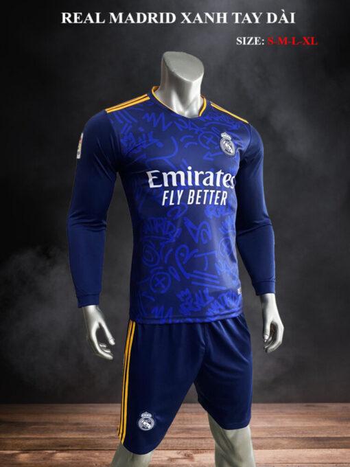 Quần áo bóng đá tay dài Real Madrid màu Xanh 21-22 mặt nghiêng