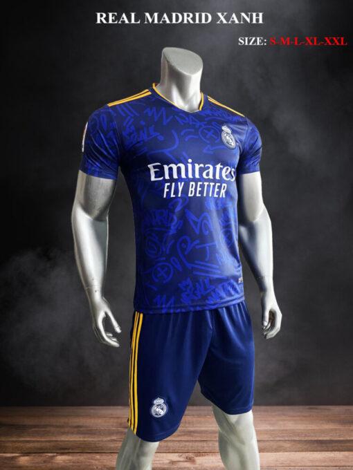 Quần áo bóng đá Real Madrid màu Xanh 21-22 mặt nghiêng
