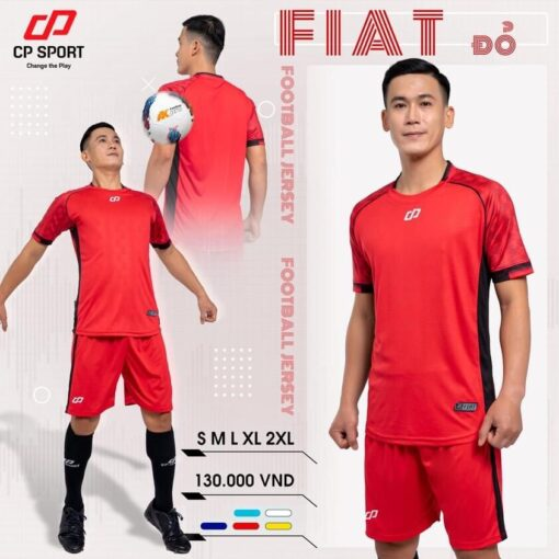 Áo bóng đá không logo thiết kế CP FIAT màu Đỏ