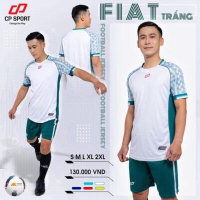 Áo bóng đá không logo thiết kế CP FIAT màu Trắng
