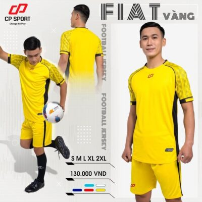 Áo bóng đá không logo thiết kế CP FIAT màu Vàng