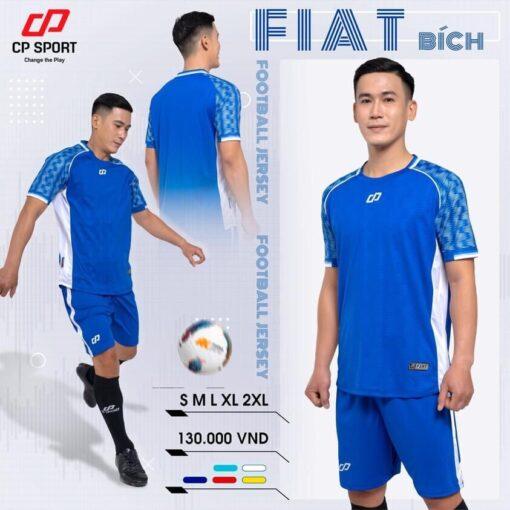 Áo bóng đá không logo thiết kế CP FIAT màu Xanh bích