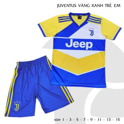 Quần áo bóng đá Trẻ Em Juventus màu Vàng xanh 21-22