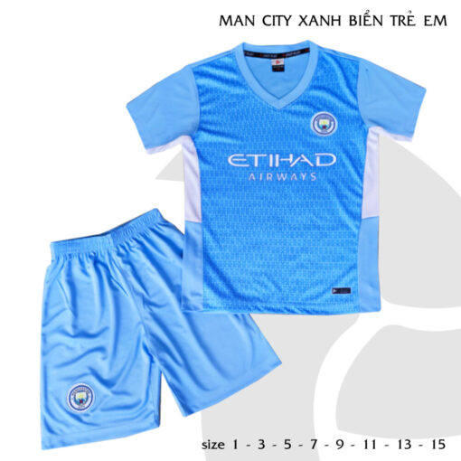 Quần áo bóng đá Trẻ Em CLB Man City màu Xanh Da 21-22