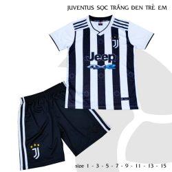 Quần áo bóng đá Trẻ Em CLB Juventus màu Trắng sọc đen 21-22