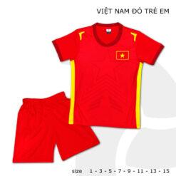 Quần áo bóng đá Trẻ Em Đội tuyển Việt Nam màu Đỏ 21-22