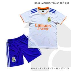 Quần áo bóng đá Trẻ Em Real Madrid màu Trắng 21-22