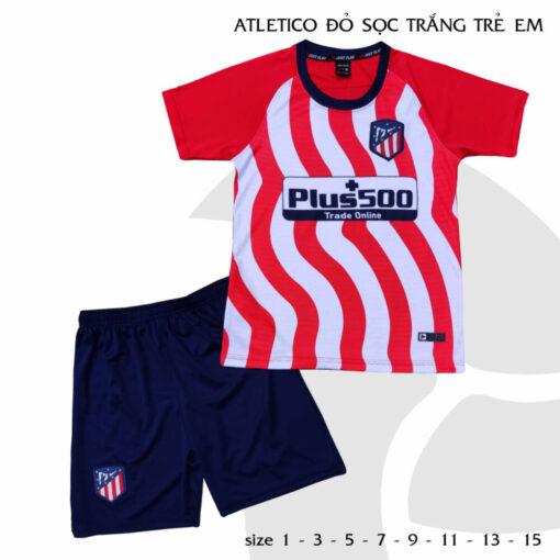 Quần áo bóng đá Trẻ Em Atletico màu Đỏ Sọc Trắng 21-22